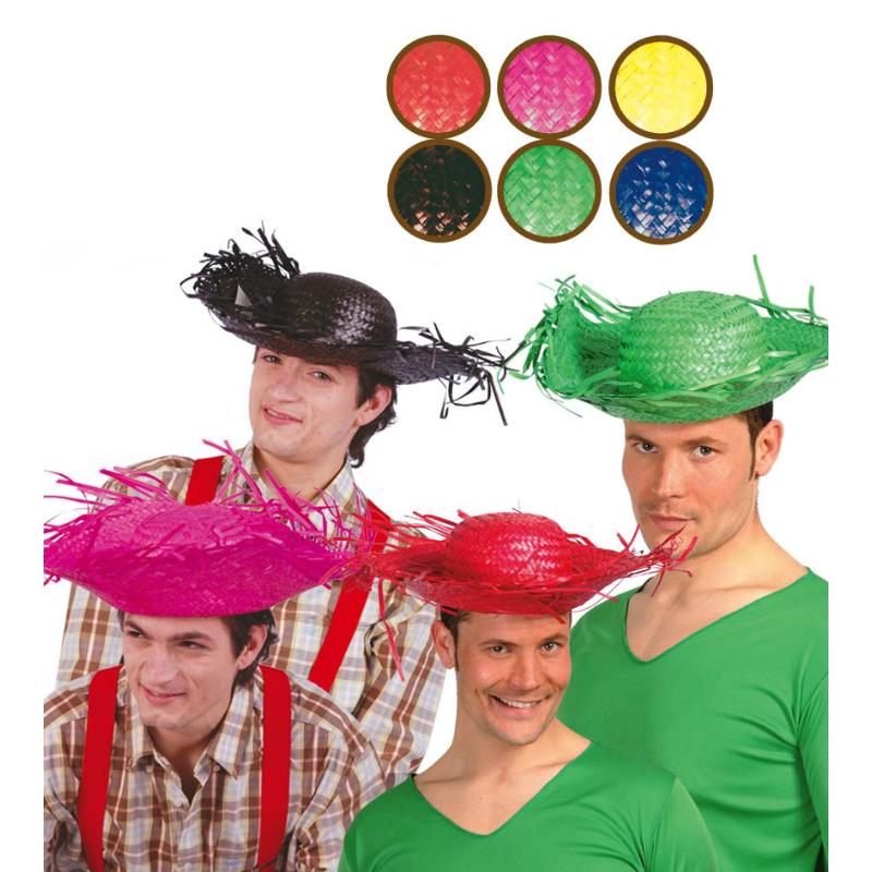 13624 sombrero espantapajaros paja colores surtidos - SOMBRERO ESPANTAPÁJAROS COLORES