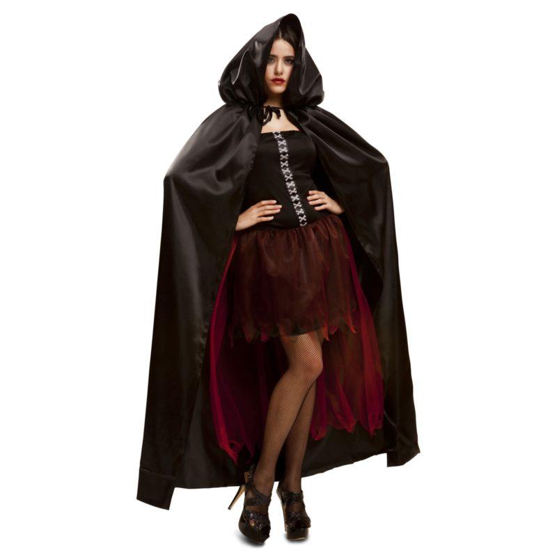 capa con capucha negra mujer