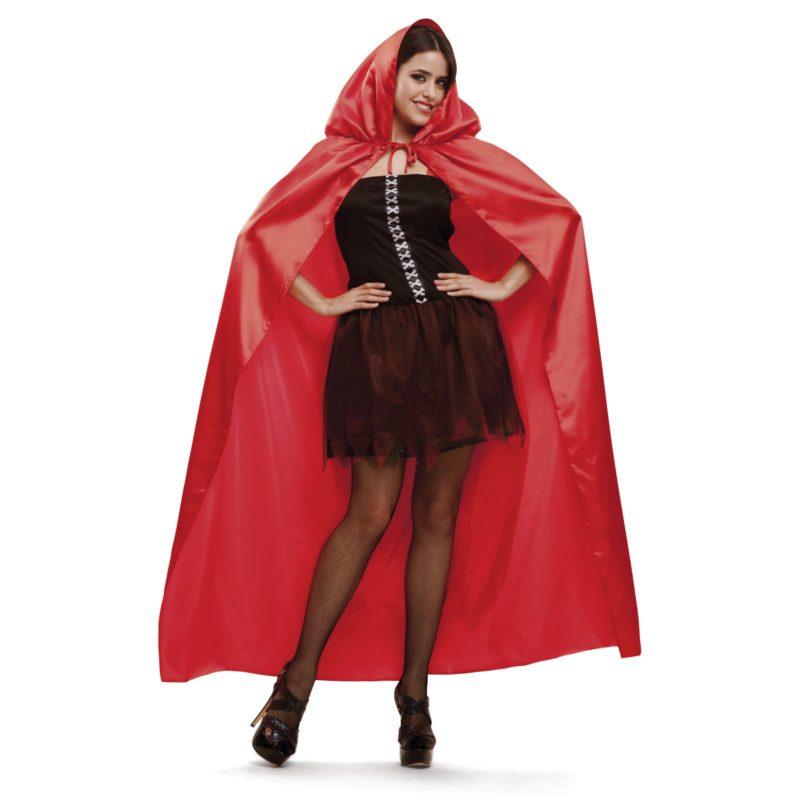 capa roja capucha mujer
