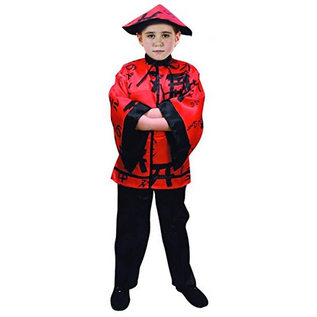 disfraz chino rojo negro niño