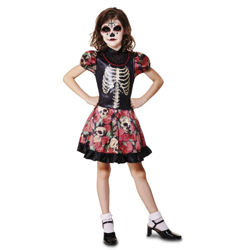 disfraz dia de los muertos niña