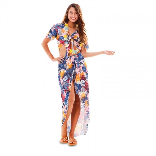 disfraz hawaiana turista mujer