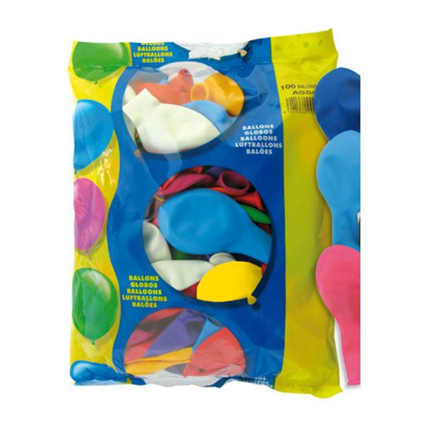 100 globos multicolor extra - GLOBOS MULTICOLOR