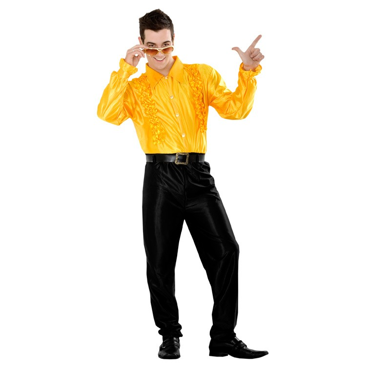 70 Camisa Hombre Disco Amarilla Años 8n0wOPk