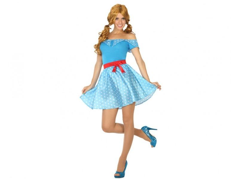 disfraz anos 50 azul mujer - DISFRAZ DE LOS AÑOS 50 AZUL MUJER