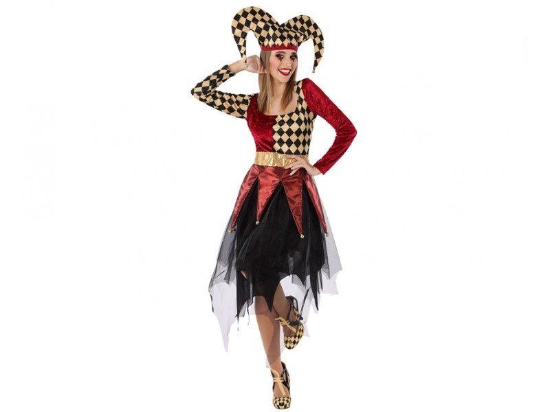 disfraz arlequina rojo mujer 800x600 - DISFRAZ DE ARLEQUINA ROJO MUJER