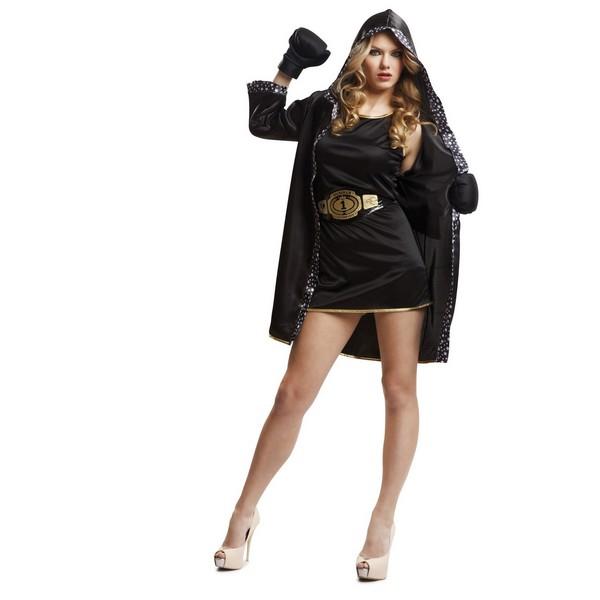 disfraz boxeadora mujer 2 - DISFRAZ DE BOXEADORA NEGRO MUJER