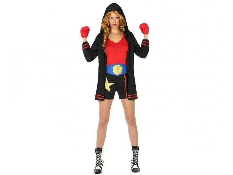 disfraz boxeadora negro mujer 800x600 - DISFRAZ DE BOXEADORA NEGRO MUJER
