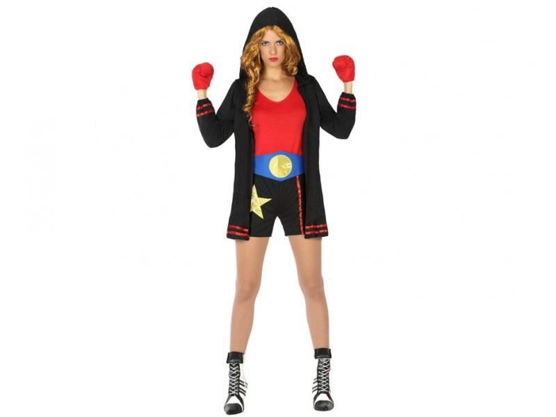 disfraz boxeadora negro mujer - DISFRAZ DE BOXEADORA NEGRO MUJER