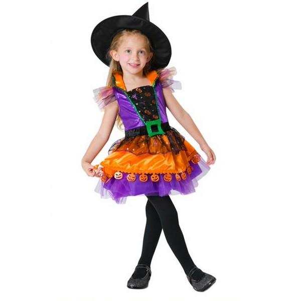 disfraz brujita colores niña - DISFRAZ DE BRUJITA CALABAZA BEBÉ