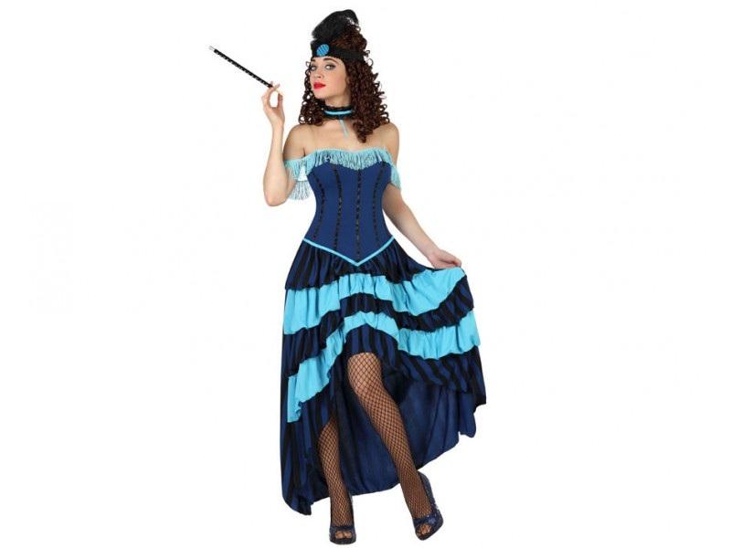 disfraz cabaret azul mujer - DISFRAZ DE CABARET AZUL MUJER