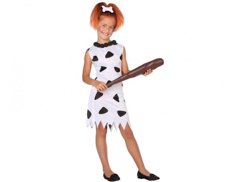 disfraz cavernicola niña blanco 800x600 - DISFRAZ DE CAVERNÍCOLA PICAPIEDRA BLANCO NIÑA
