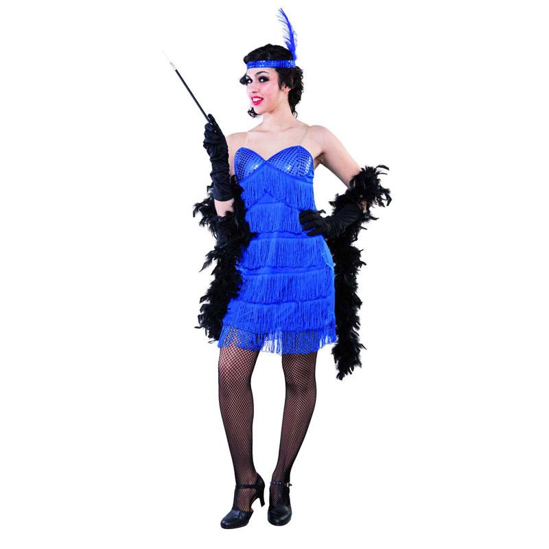 disfraz charlestón azul adulto - DISFRAZ DE CHARLESTON AZUL MUJER