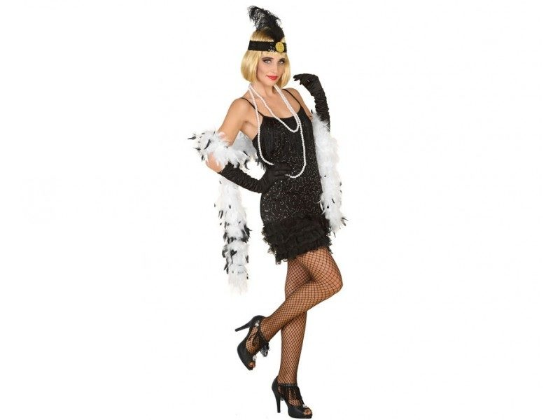 disfraz charlestón negro mujer 800x600 - DISFRAZ DE CHARLESTÓN NEGRO MUJER