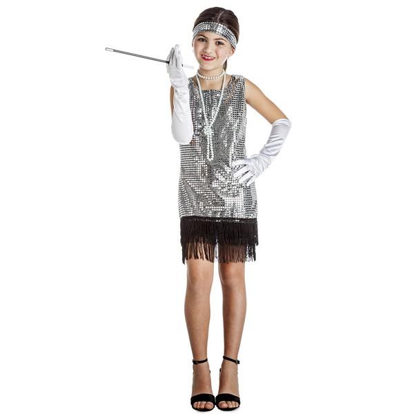 disfraz charlestón plata niña - DISFRAZ DE CHARLESTON PLATA NIÑA