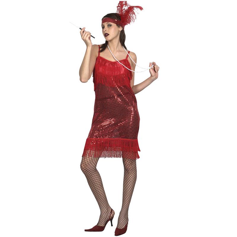 disfraz charlestón rojo adulto - DISFRAZ DE CHARLESTON ROJO MUJER
