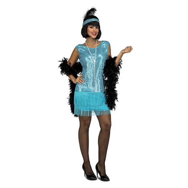 disfraz charlestón turquesa mujer - DISFRAZ DE CHARLESTÓN AZUL MUJER
