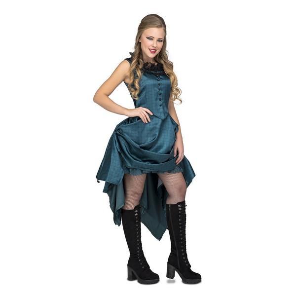 disfraz chica salón azul mujer - DISFRAZ DE CHICA DE SALOON AZUL MUJER