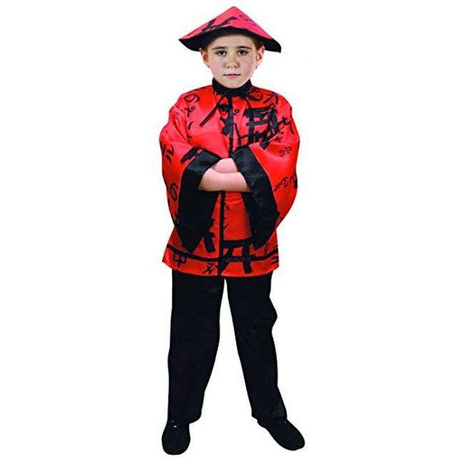 disfraz chino rojo negro niño - DISFRAZ DE CHINO ROJO Y NEGRO NIÑO