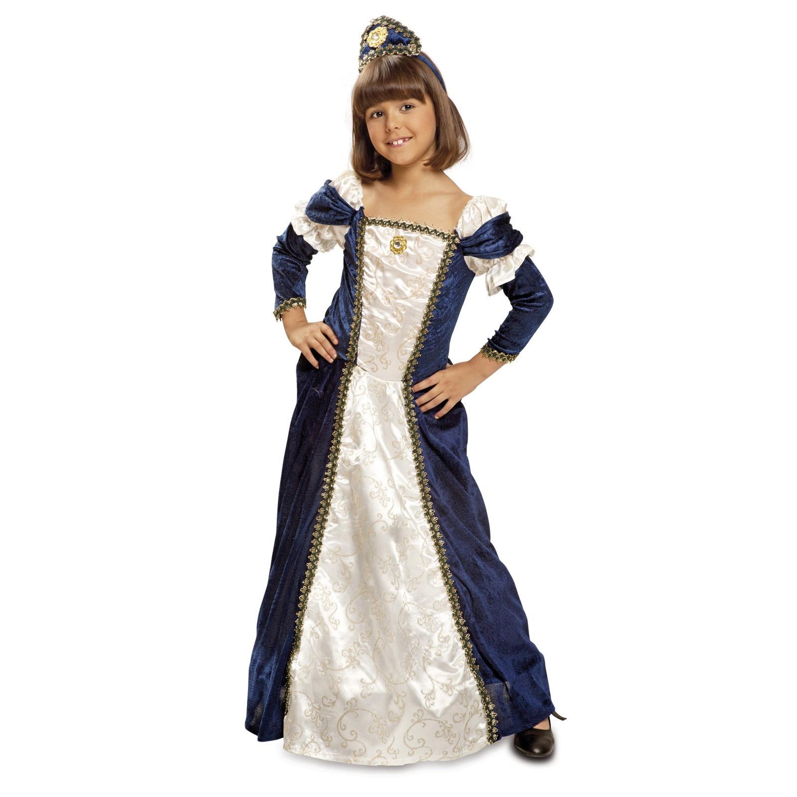 Disfraz medieval azul nina