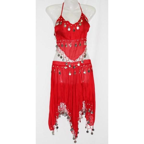 disfraz danza del vientre falda rojo - DANZA DEL VIENTRE ROJO MUJER