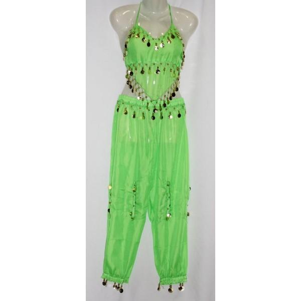 disfraz danza del vientre pantalon verde 1 - DANZA DEL VIENTRE VERDE MUJER