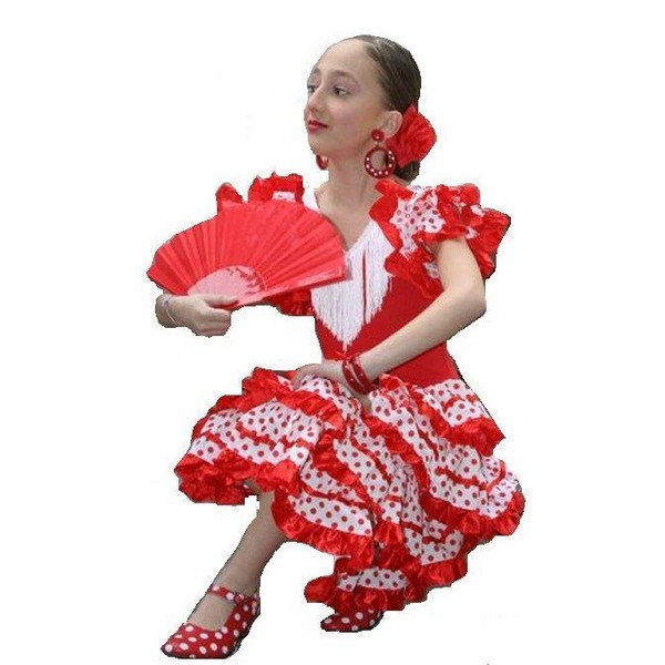 disfraz de andaluza blanco infantil - DISFRAZ DE ANDALUZA BLANCO/ROJO INFANTIL