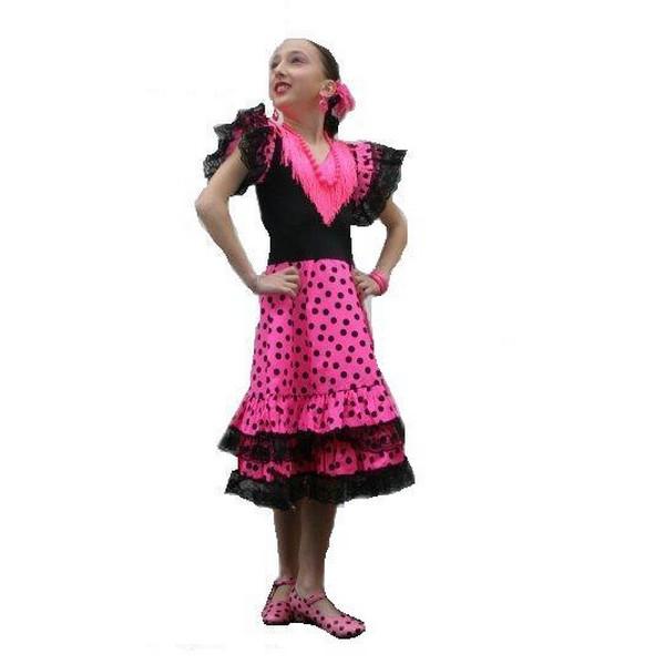 disfraz de andaluza fucsia negro infantil - DISFRAZ DE ANDALUZA FUCSIA/NEGRO INFANTIL