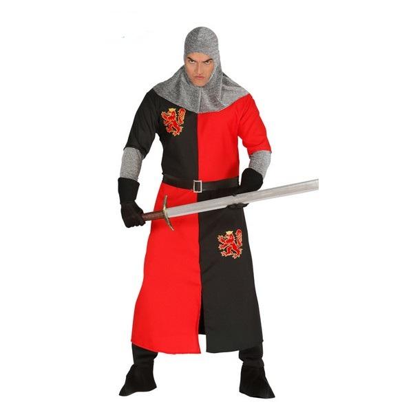 disfraz de caballero medieval adulto - DISFRAZ DE CABALLERO MEDIEVAL ROJO-NEGRO