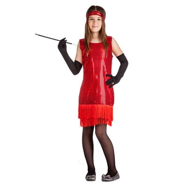 disfraz de charleston flecos lentejuelas rojo infantil - DISFRAZ DE CHARLESTON ROJO NIÑA