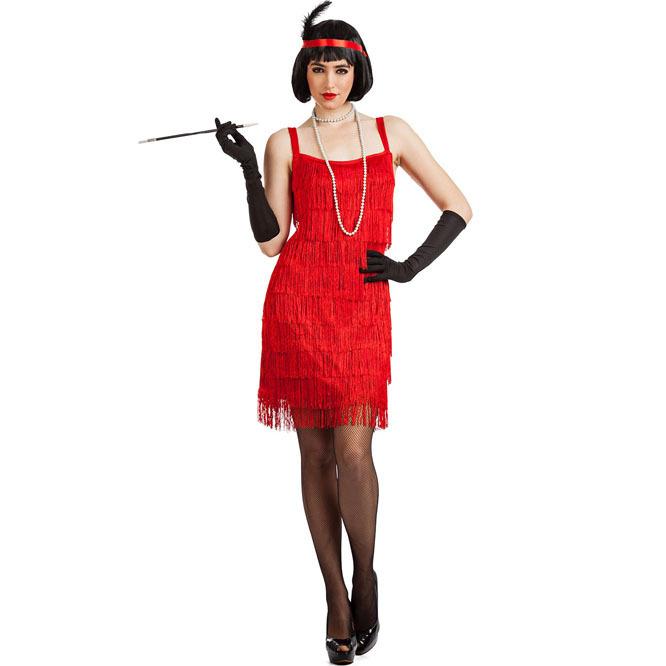disfraz de charleston flecos rojo mujer 125197 - DISFRAZ DE CHARLESTON FLECOS ROJO MUJER