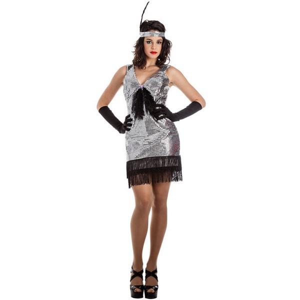 disfraz de charleston lentejuelas plata para mujer - DISFRAZ DE CHARLESTON PLATA MUJER