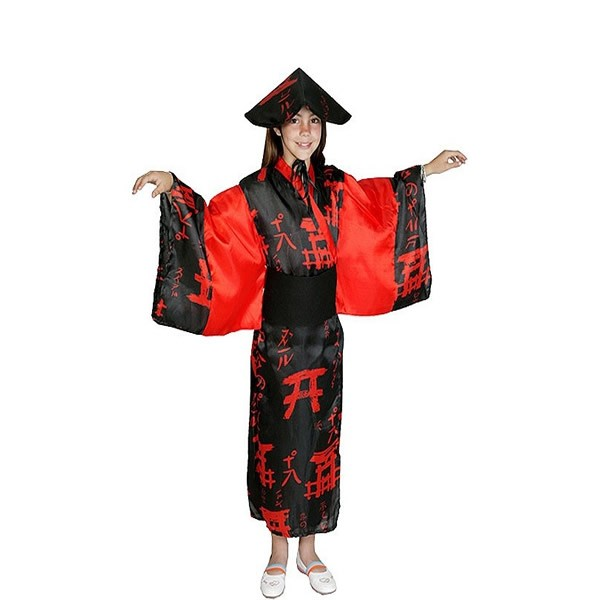 disfraz de china roja y negra nina - DISFRAZ DE CHINA ROJO-NEGRO NIÑA