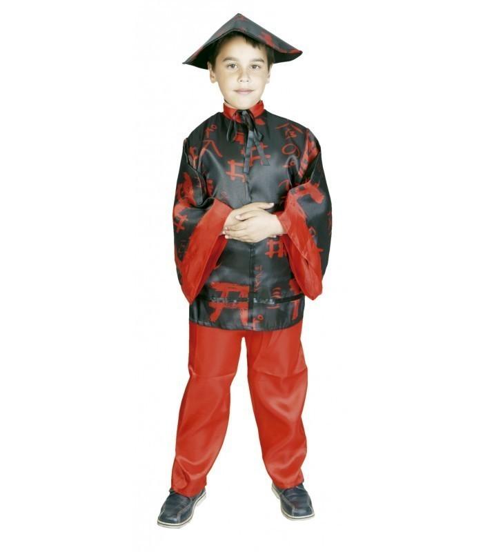 disfraz de chino negro y rojo para nino - DISFRAZ DE CHINO ROJO Y NEGRO NIÑO