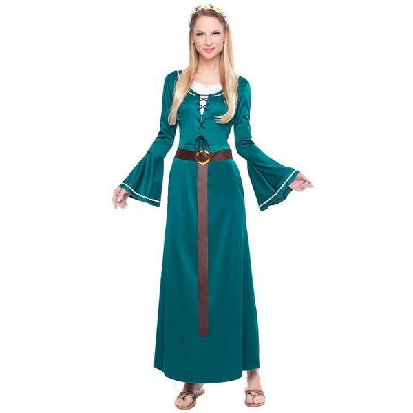 disfraz de dama medieval azul mujer 1 - DISFRAZ DE DAMA MEDIEVAL AZUL MUJER