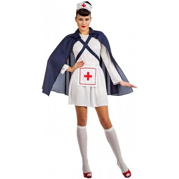 disfraz de enfermera con capa para mujer  - DISFRAZ DE  ENFERMERA CON CAPA MUJER