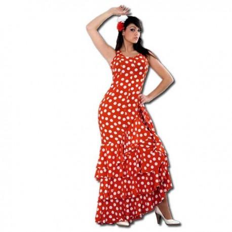 disfraz de flamenca 1 - DISFRAZ DE SEVILLANA ROJO MUJER