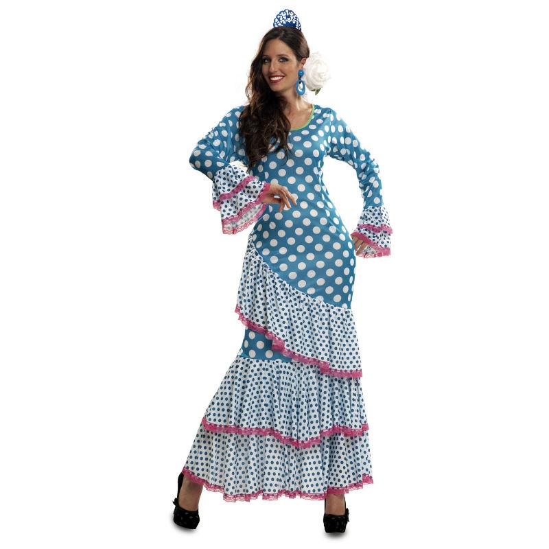 disfraz de flamenca azul mujer - DISFRAZ DE FLAMENCA AZUL MUJER