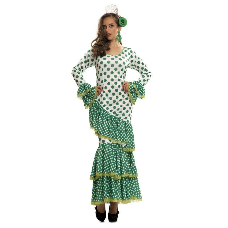 disfraz de flamenca verde mujer - DISFRAZ DE FLAMENCA VERDE MUJER
