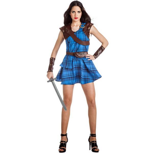 disfraz de guerrera escocesa azul para mujer - DISFRAZ DE GUERRERA ESCOCESA AZUL MUJER