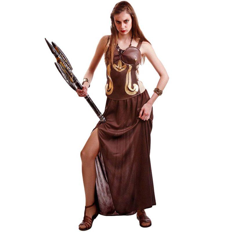 disfraz de guerrera romana marron para mujer 800x800 - DISFRAZ DE ROMANA MARRÓN MUJER