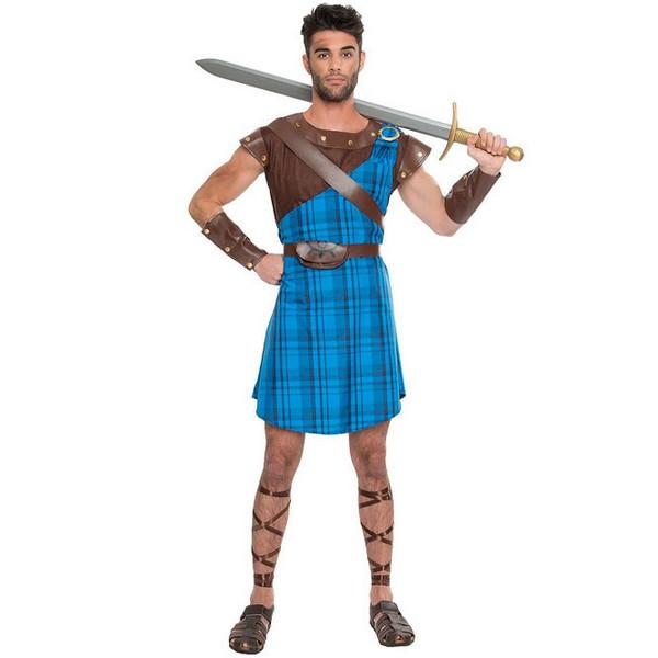 disfraz de guerrero escoces azul adulto  - DISFRAZ  GUERRERO ESCOCES AZUL HOMBRE
