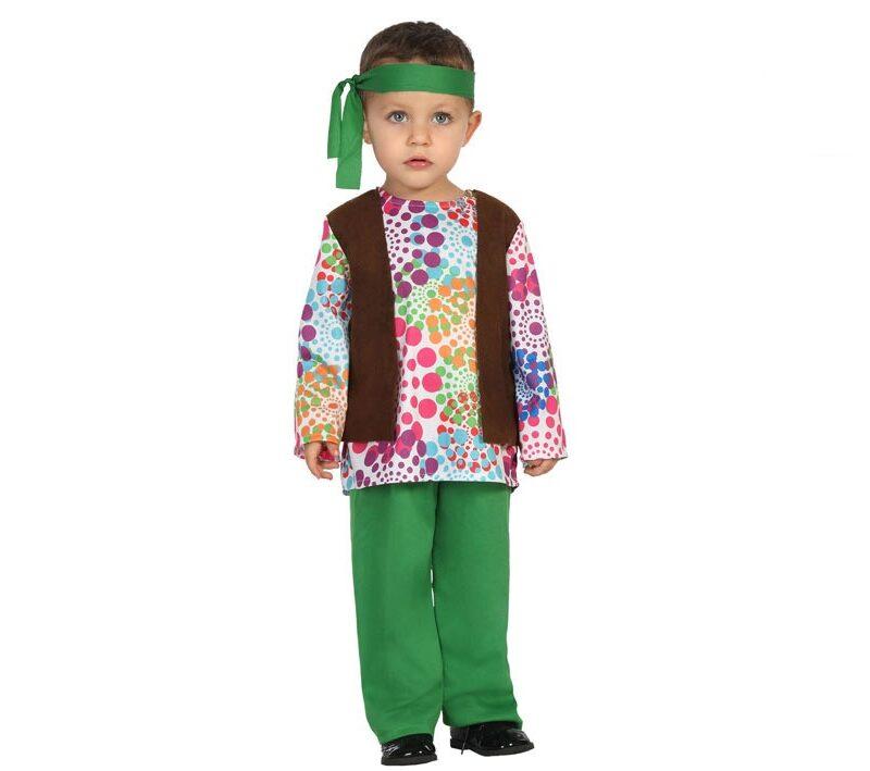 disfraz de hippie bebé niño 800x709 - DISFRAZ DE HIPPIE BEBÉ VERDE NIÑO
