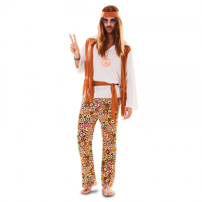 disfraz de hippie con chaleco para hombre - DISFRAZ DE HIPPIE ECONÓMICO PARA HOMBRE