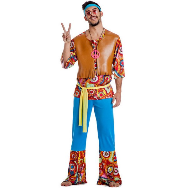 disfraz de hippie hombre con chaleco - DISFRAZ DE HIPPIE CHALECO HOMBRE