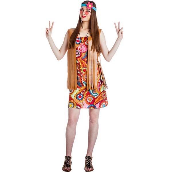 disfraz de hippie mujer con chaleco - DISFRAZ CHICA HIPPIE VESTIDO MUJER