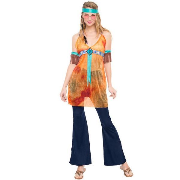 disfraz de hippie naranja mujer - DISFRAZ DE HIPPIE WOODSTOCK MUJER