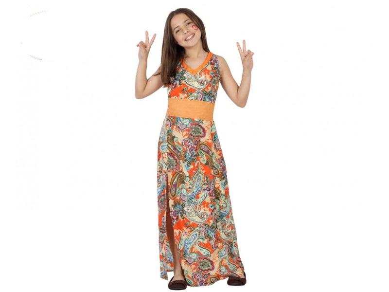 disfraz de hippie nina t 1 - DISFRAZ DE HIPPIE NIÑA VESTIDO