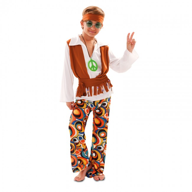 disfraz de hippy con chaleco para nino - DISFRAZ DE HIPPIE NIÑO