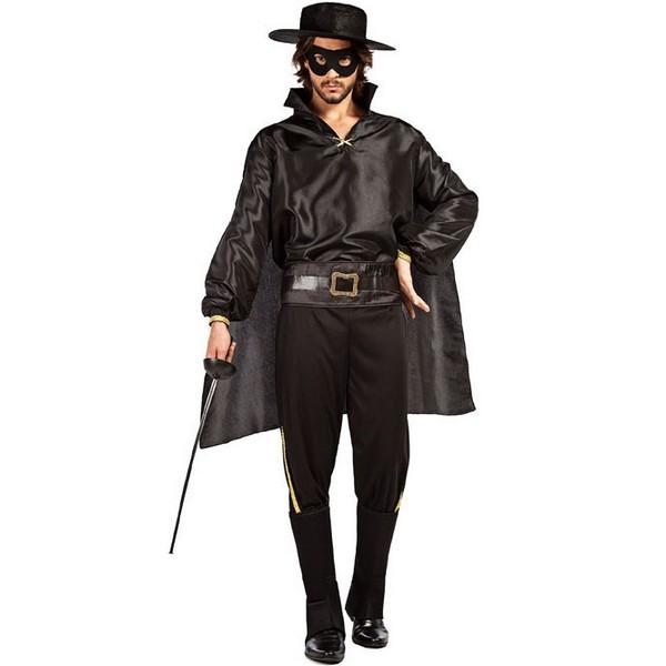 disfraz de justiciero negro zorro adulto - DISFRAZ DE ZORRO JUSTICIERO HOMBRE